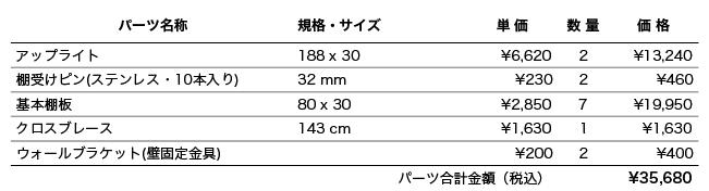 """""""実例陳列棚d30_1パーツリスト"""""""
